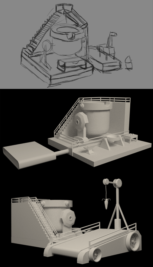 Top: Concept drawing | Middle: Early model | Bottom: Now with Carrot-On-A-Stick!